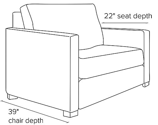 Side view dimension illustration of Berin sleeper chair with slope arms