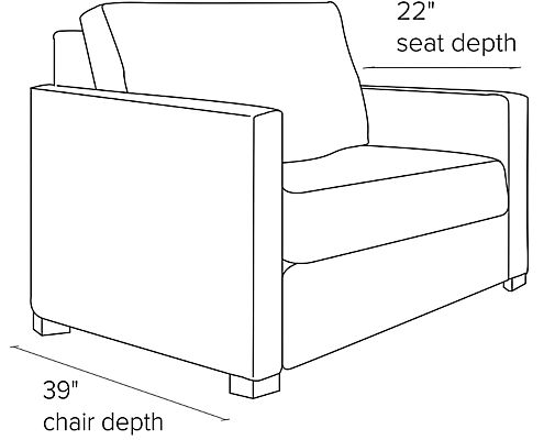 Side view dimension illustration of Berin sleeper chair with thin arms
