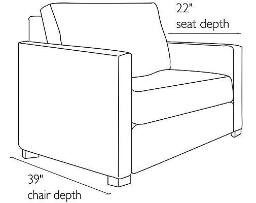 Side view dimension illustration of Berin sleeper chair with wide arms