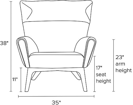 Front view dimension illustration of Boden chair