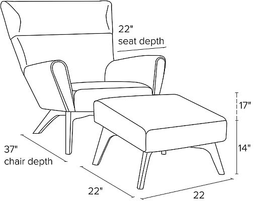 Side view dimension illustration of Boden chair
