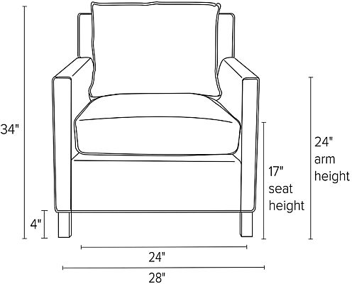 Front view dimension illustration of Bram chair