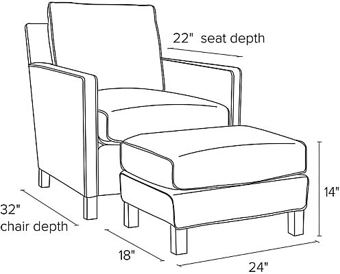 Side view dimension illustration of Bram chair