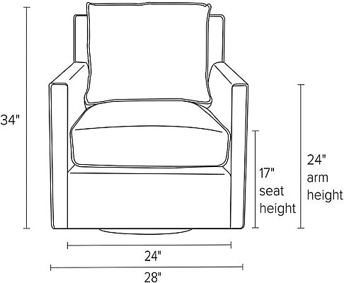 Front view dimension illustration of Bram swivel chair