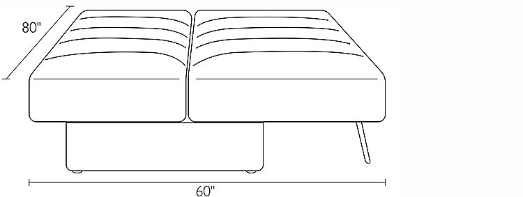 Front view dimension illustration of Bruno sofa expanded