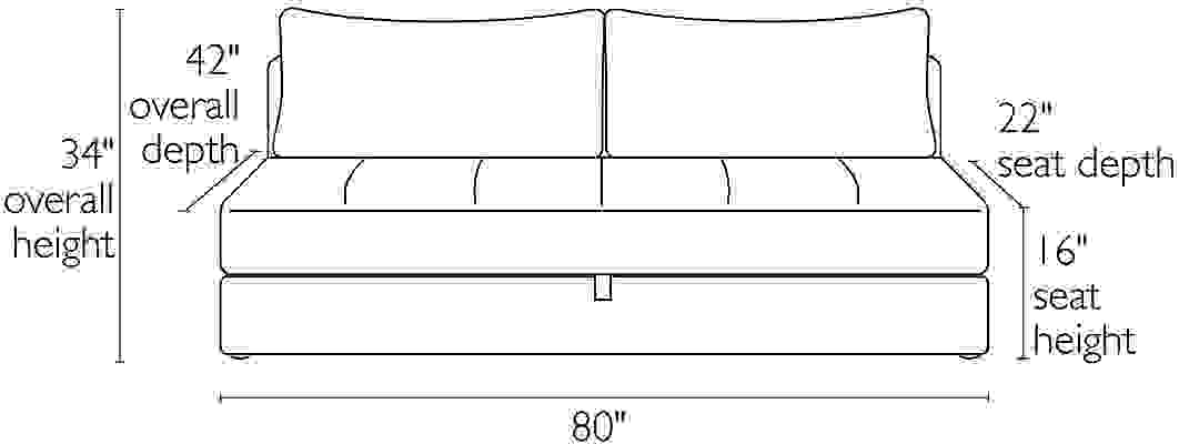 Front view dimension illustration of Bruno sofa