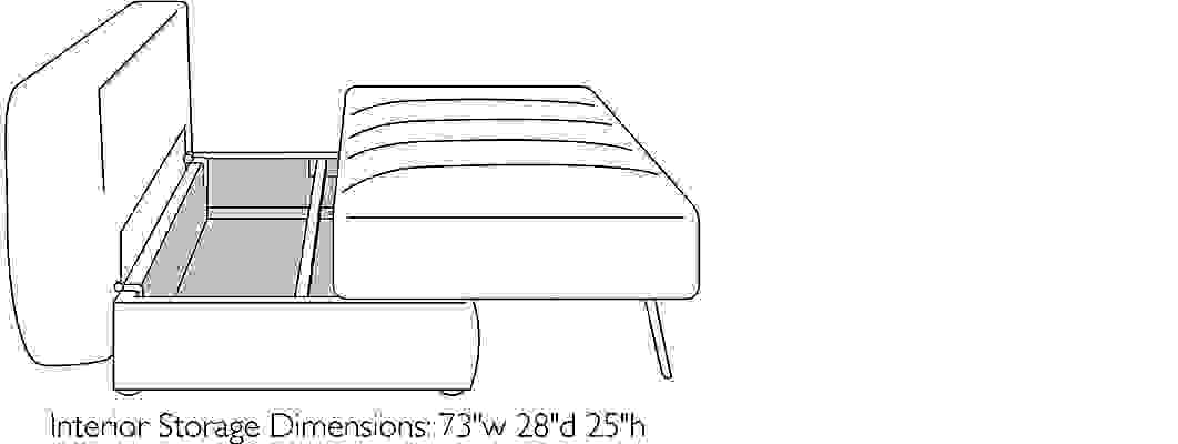 Front view dimension illustration of Bruno sofa open