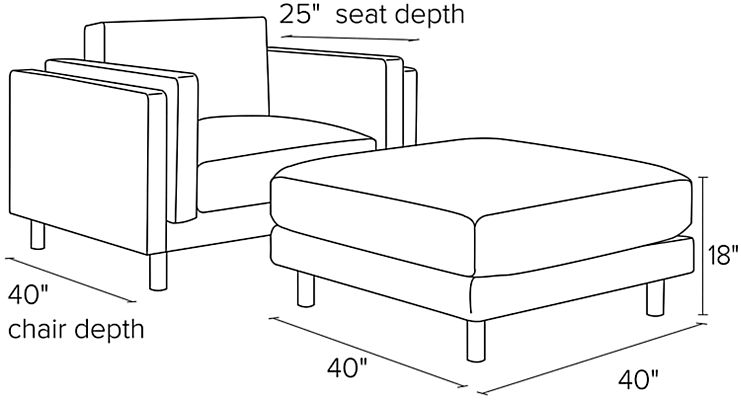 Side view dimension illustration of Cade chair and ottoman