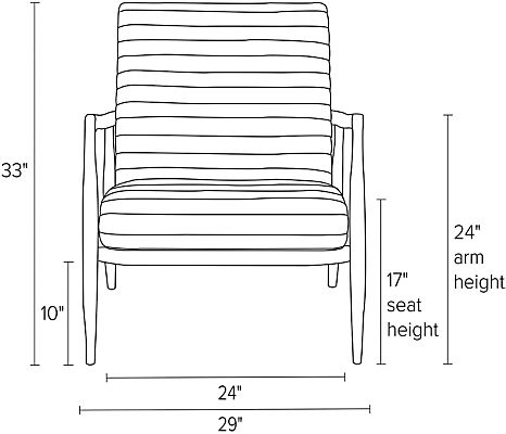 Front view dimension illustration of Callan chair