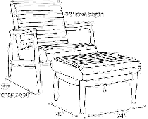 Side view dimension illustration of Callan chair and ottoman