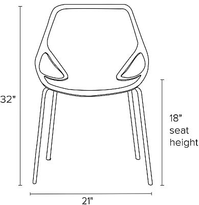 Front view dimension illustration of Caprice side chair