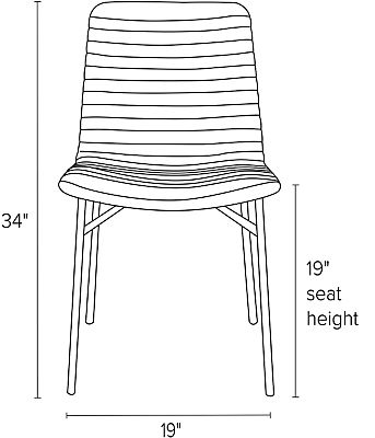 Front view dimension illustration of Cato side chair