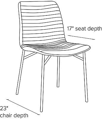 Side view dimension illustration of Cato side chair