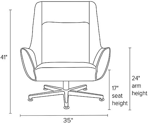 Front view dimension illustration of Charles swivel chair