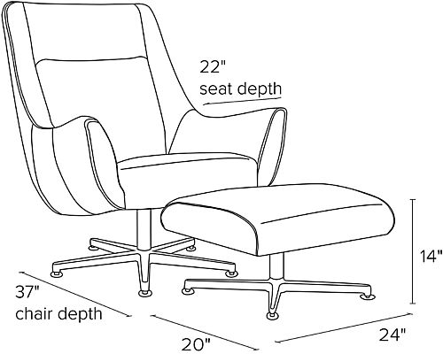 Side view dimension illustration of Charles swivel chair