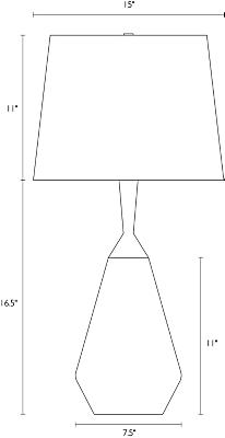 Detail of Cloak table lamp dimension drawing