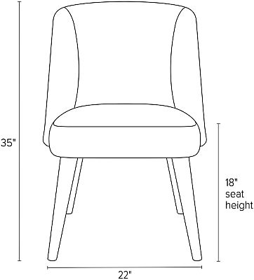 Front view dimension illustration of Cora dining chair
