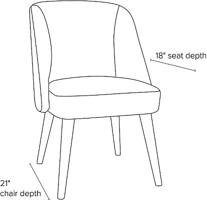 Side view dimension illustration of Cora dining chair