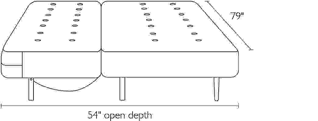 Front view dimension illustration of Deco sofa open