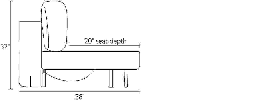 Side view dimension illustration of Deco sofa