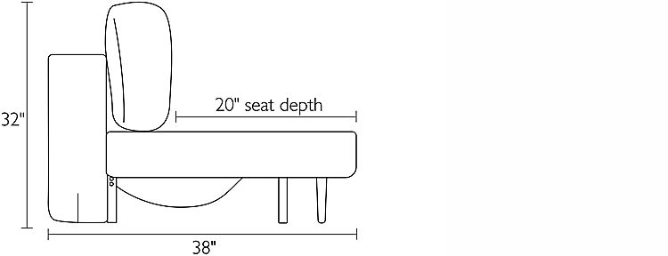 Side view dimension illustration of Deco sofa