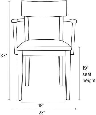 Front view dimension illustration of Doyle arm chair