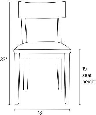 Front view dimension illustration of Doyle side chair