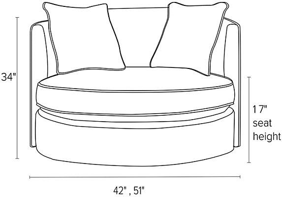 Front view dimension illustration of Eos swivel chair