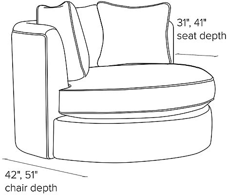Side view dimension illustration of Eos swivel chair