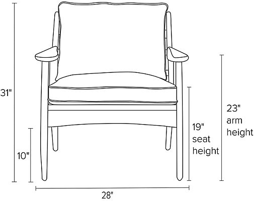Front view dimension illustration of Ericson chair