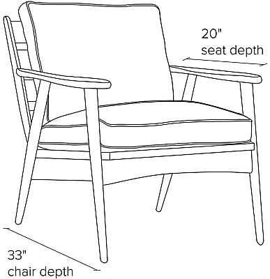 Side view dimension illustration of Ericson chair