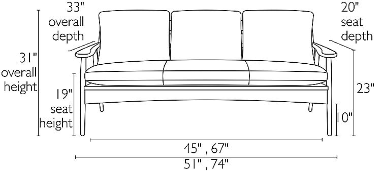 Front view dimension illustration of Ericson sofa