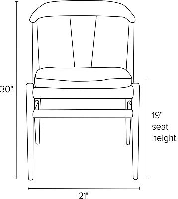 Front view dimension illustration of Evan side chair