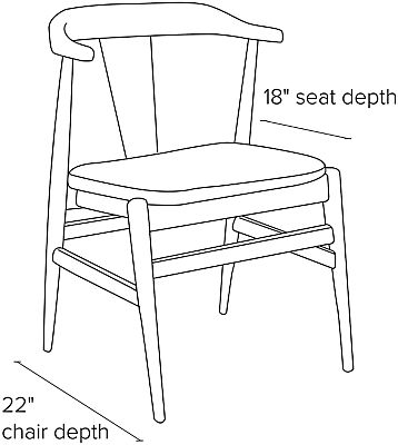 Side view dimension illustration Evan side chair