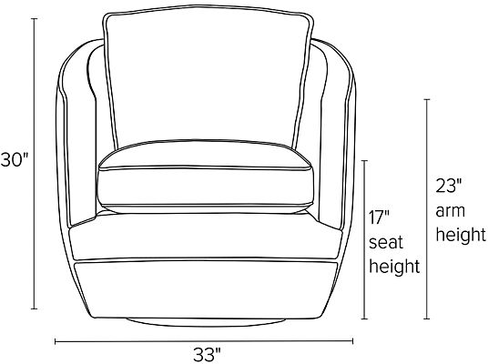 Front view dimension illustration of Ford swivel chair