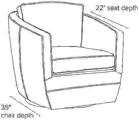 Side view dimension illustration of Ford swivel chair