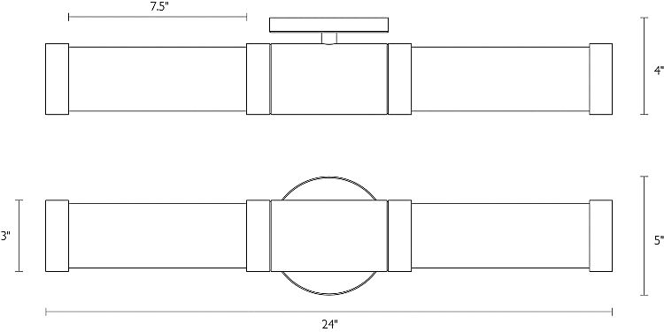 Detail of Forum double sconce dimension drawings