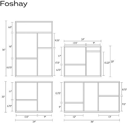 Detail of Foshay wall shelf dimension drawings