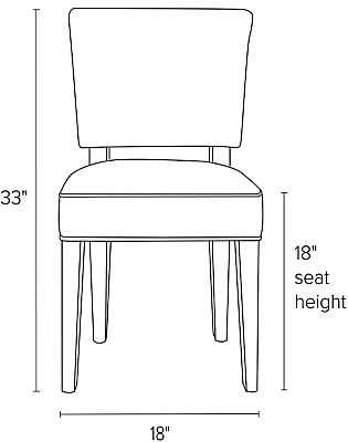 Front view dimension illustration of Georgia side chair