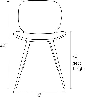 Front view dimension illustration of Gwen side chair