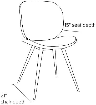 Side view dimension illustration of Gwen side chair