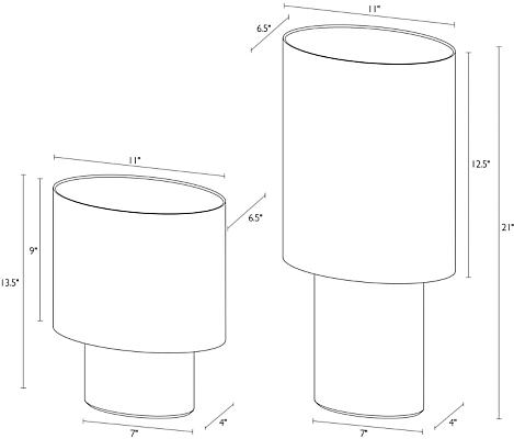 Detail of Haddie table lamp dimension drawings