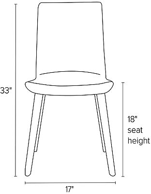 Front view dimension illustration of Hirsch side chair