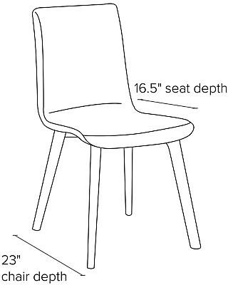 Side view dimension illustration of Hirsch side chair
