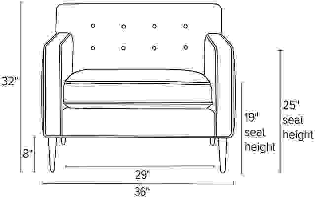 Front view dimension illustration of Holmes chair