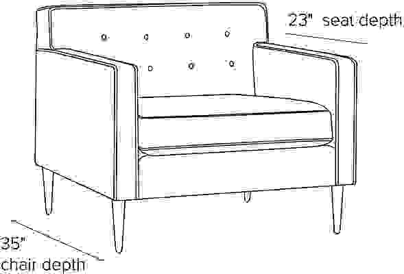 Side view dimension illustration of Holmes chair