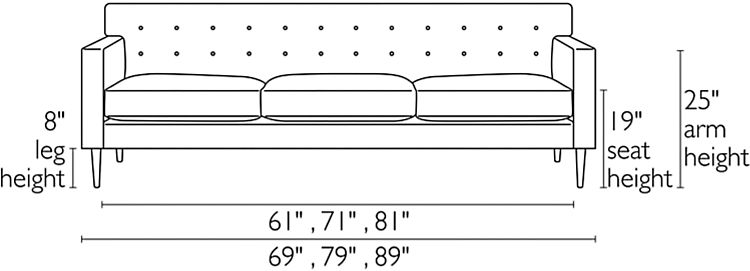Front view dimension illustration of Holmes sofa