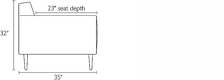 Side view dimension illustration of Holmes sofa