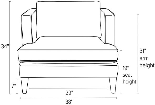 Front view dimension illustration of Hutton chair