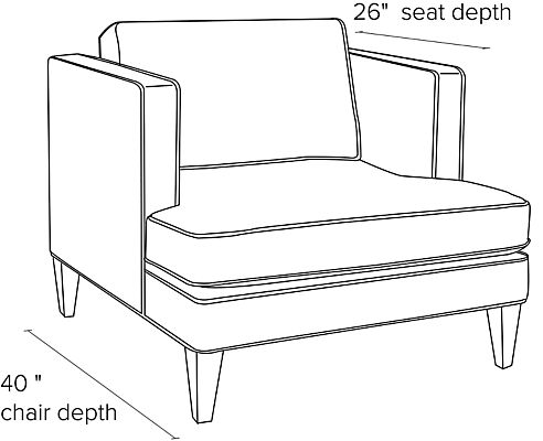 Side view dimension illustration of Hutton chair